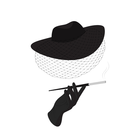 A lady in a hat with a veil and a cigarette Illustration