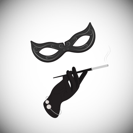 cigar smoking woman: Carnival mask. Hand. Cigarette in the mouthpiece.