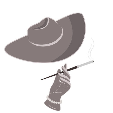 smoking woman: A lady in a hat and gloves smokes a cigarette Illustration