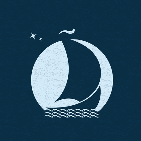Sailboat at sea on waves in the background of the moon in the night sky. Sailing ship poster