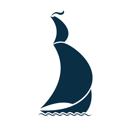 Sailing ship on waves. Logo for a travel agency, for a yacht club, for pleasure boat, for water sport