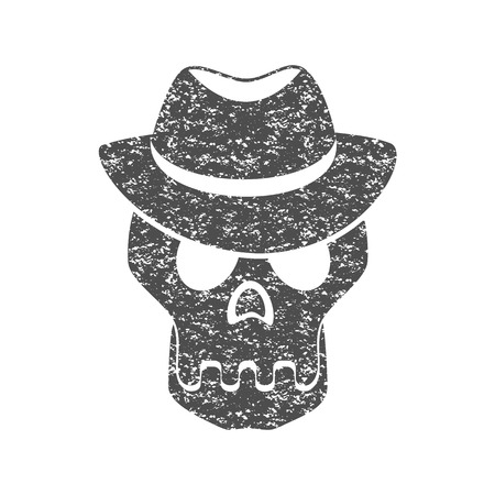 dangerous man: Skull in the hat. Grunge print for t-shirt. Illustration