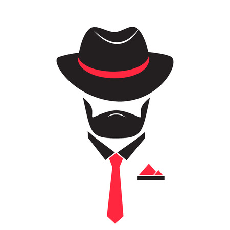 Unknown man in a hat and tie with a pocket square. Gentleman logo in mafia style for male store, a barber shop.