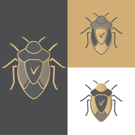A set of beetles of icons, symbols and logos for antivirus, for mobile and computer applications. Illustration