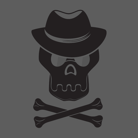 dangerous man: Skull and crossbones with hat and glasses