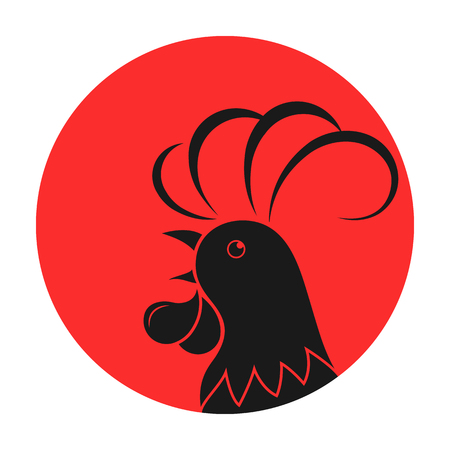 wake up call: Rooster against the background of the sun. Illustration