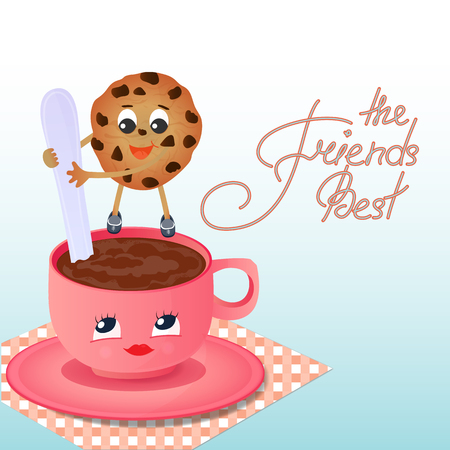 A funny chocolate chip cookie with a spoon shakes the coffee in the cup. Greeting card to the Day of Friendship. Best friends hand lettering