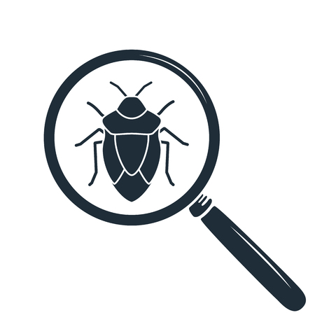 coleoptera: Beetle under the magnifying glass. Insect icon