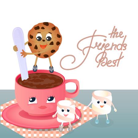 マシュマロ、チョコレート チップ クッキー、コーヒー カップ。友情の日に挨拶を交わした。親友手レタリング 写真素材