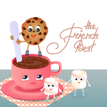A Marshmallow, a chocolate chip cookie and a coffee cup. Greeting to the Day of Friendship. Best friends hand lettering Stock Photo