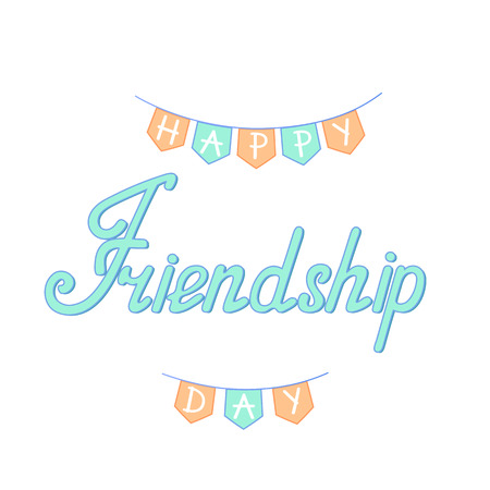 Happy friendship day hand lettering. Holiday flags