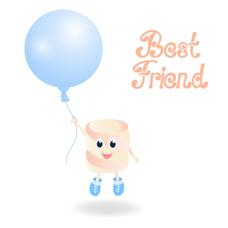 A Marshmallow is holding a balloon. Best friend hand lettering. Greeting card for the day of Friendship Stock Photo
