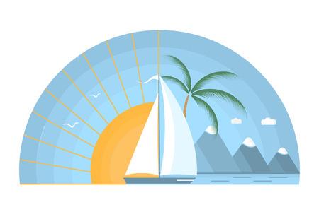 Zeilboot in de zee tegen de achtergrond van de rijzende zon. Tropisch eiland, bergen, palmboom, meeuwen in de lucht. Het concept van een zomervakantie in een vlakke stijl.