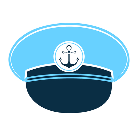 Sailors cap with an anchor. Captains Hat