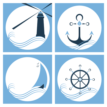 Marine set. Lighthouse. Anchor. Ship. Steering wheel Illustration