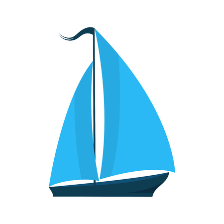 A ship with sails. Logo for water sports, tourist firm, for pleasure boats. Summer holiday concept Illustration