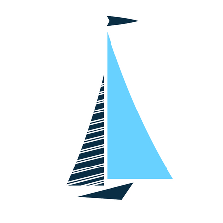 Boat with sails vector icon isolated. Logo for yacht club, for ship modeling sport
