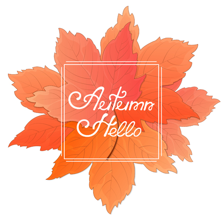 A bouquet of maple leaves. Frame with the inscription Hello Autumn. Concept for a seasonal sale.