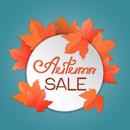 Maple leaves. Autumn sale template for banner, voucher, discount Illustration