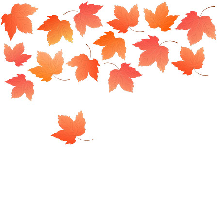 Border from falling maple leaves. Autumn decoration.