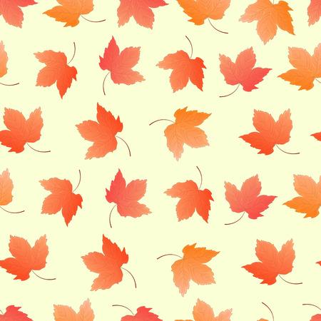 カエデの葉包み紙、背景の壁紙のためのシームレスなパターン。  イラスト・ベクター素材