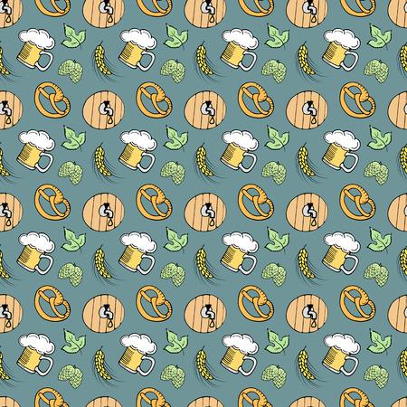 A glass of beer, an ear of barley, a hop, a lid from a barrel, pretzel attributes of Oktoberfest. Seamless Pattern Illustration