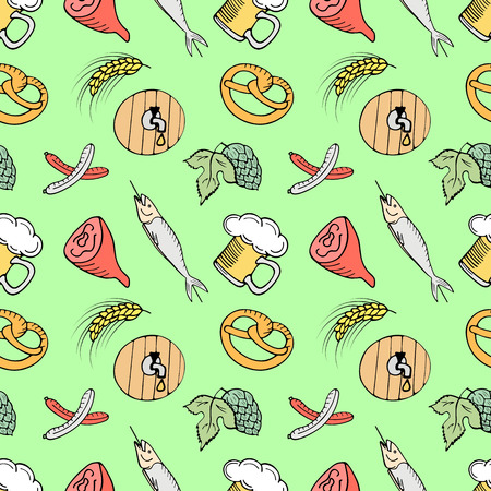 Traditional Munich snacks for beer on the Oktoberfest seamless pattern. Illustration