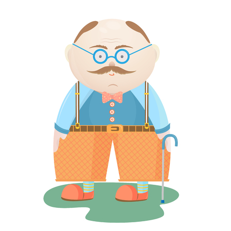 National Grandparents Day. An old man with a mustache in glasses with a walking stick.
