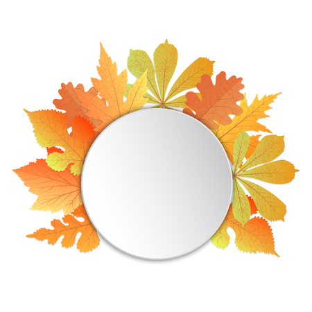 Frame with leaves. Template for autumn events to Teacher , to Thanksgiving Day, to Oktoberfest Illustration