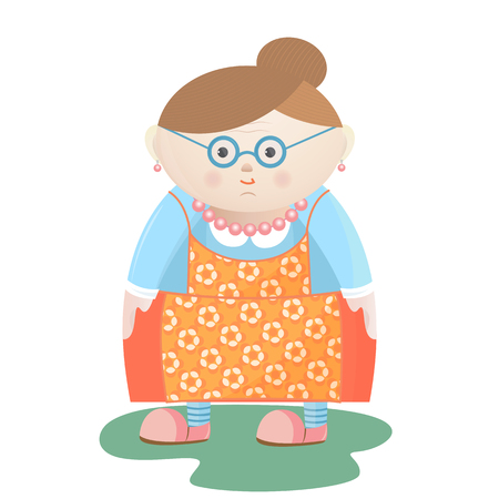 Funny grandmother with glasses with pearl beads and earrings in a flowered apron. Illustration