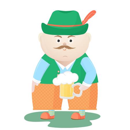 Funny Oktoberfest Man in a hat with a mug of beer. Munich Festival