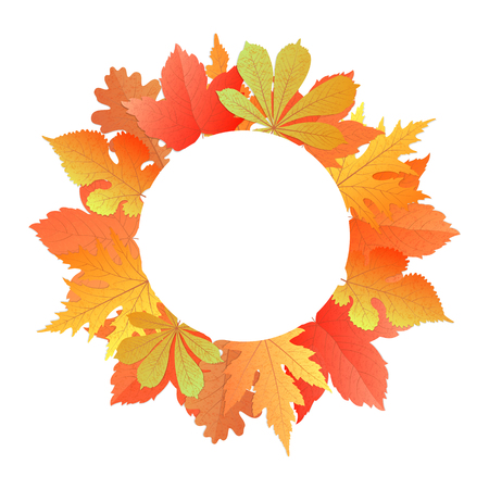 Wreath from autumn leaves of maple, oak, chestnut, mulberry. Illustration