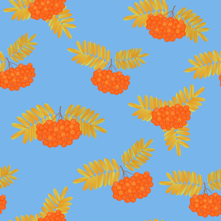 Bunch of rowan berries with yellowed leaves seamless pattern. Illustration