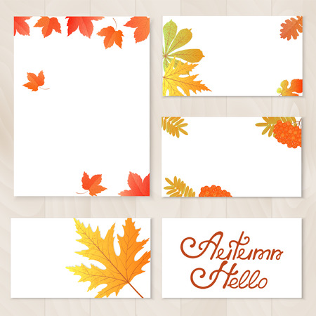 A set of cards with leaves template.