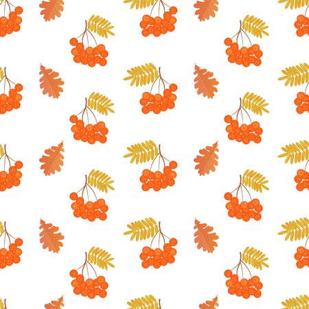 Bunches of rowan and oak leaves seamless pattern