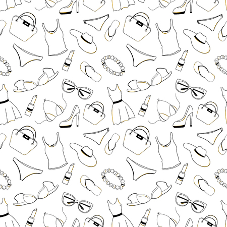 Womens clothing, shoes, underwear and accessories seamless pattern. Design for Voucher, Discount, Sale to Black Friday Illustration