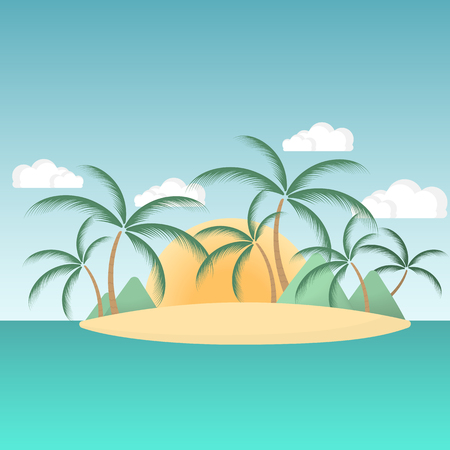 Paradise island in the sea with palm trees and mountains in the background of the rising sun