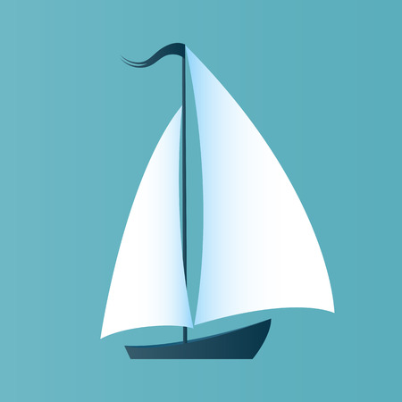 A boat with white sails. Design for a travel company, for a yacht club, for water competitions.