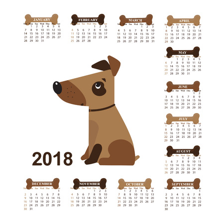 Year of the Dog. Wall Calendar for 2018 from Sunday to Saturday. Illustration
