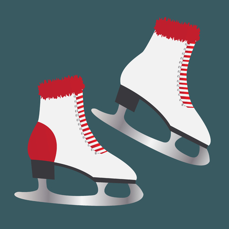 Ice skates with fur. Footwear for winter sports Stock Photo