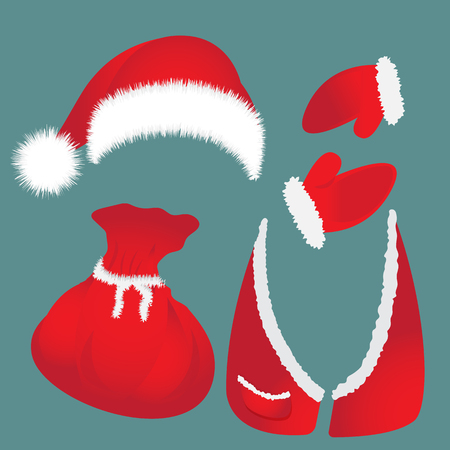 Hat with pompon, bag, waistcoat, Santa Claus gloves. Illustration
