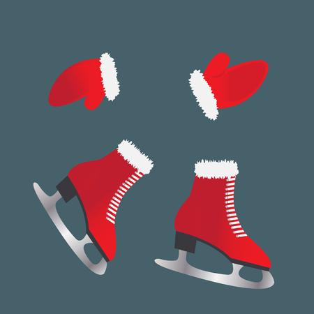 Skates en handschoenen. Schoenen voor de wintersport. Stock Illustratie