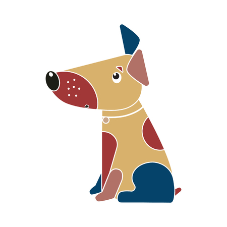 Funny spotted multicolored dog symbol of the Chinese New Year 2018. Illustration