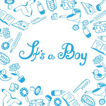 It`s a boy. Baby shower. Birth announcement.