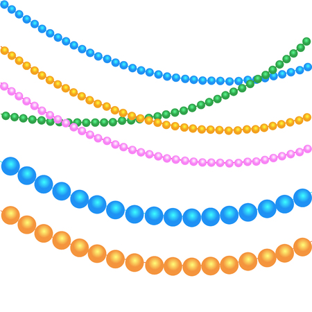Multicolored Beads For Festive Decor For The Holidays of Christmas, New Year. For Mardi Gras, For Carnivals, Parties.
