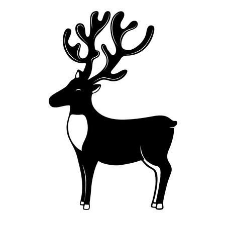 Christmassy Reindeer with horns silhouette. Deer vector icon.