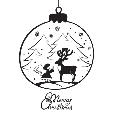 The angel met a deer in the forest. Merry Christmas hand lettering. Greeting card for the New Year in Doodle style. Ilustração