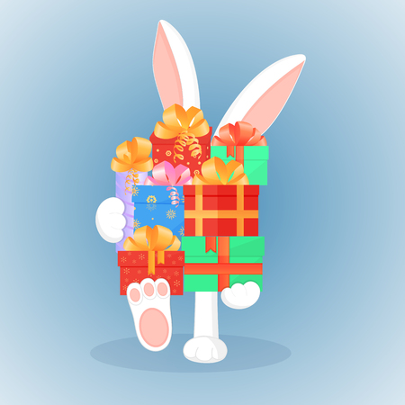 Easter bunny keeps a big mountain of gifts. The concept of the sale for Christmas, New Year, Boxing day.