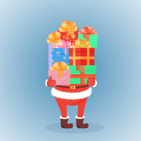 Santa Claus in felt boots and mittens keeps festive gifts. The concept of the sale for Christmas, New Year, Boxing day Illustration