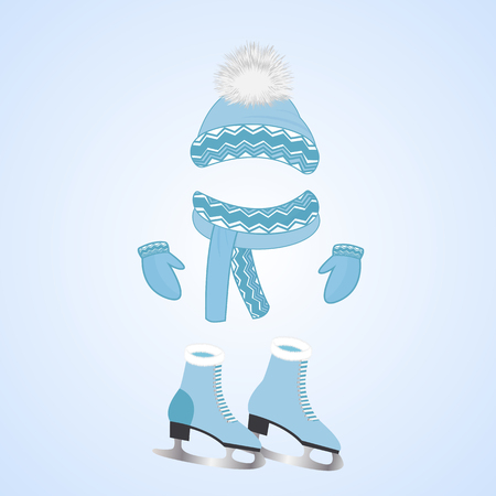 A hat with a fluffy pompon, a scarf, mittens. Skates with fur. Winter sports day Illustration